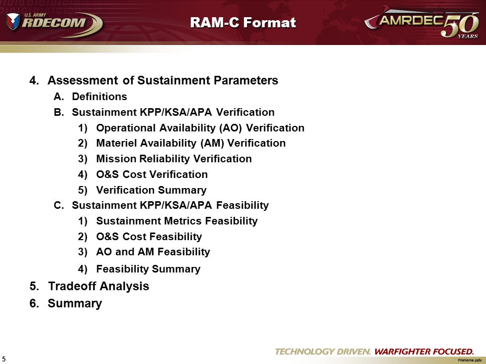 RAM-C Format Assessment of Sustainment Parameters Tradeoff Analysis