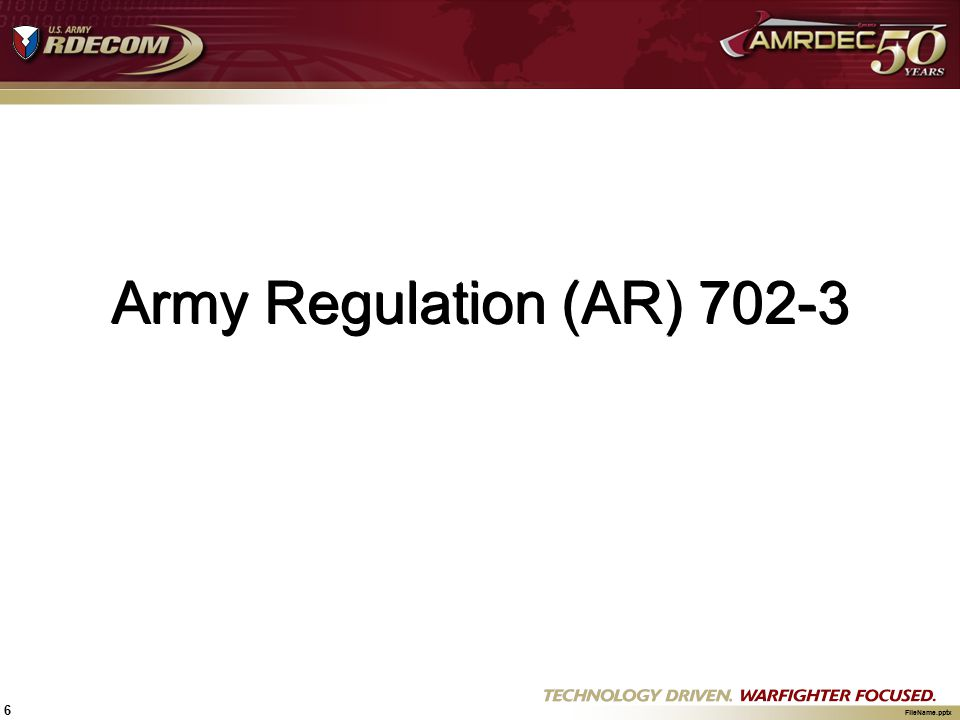 Army Regulation (AR) 702-3
