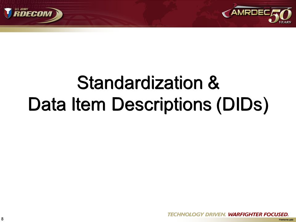 Standardization & Data Item Descriptions (DIDs)
