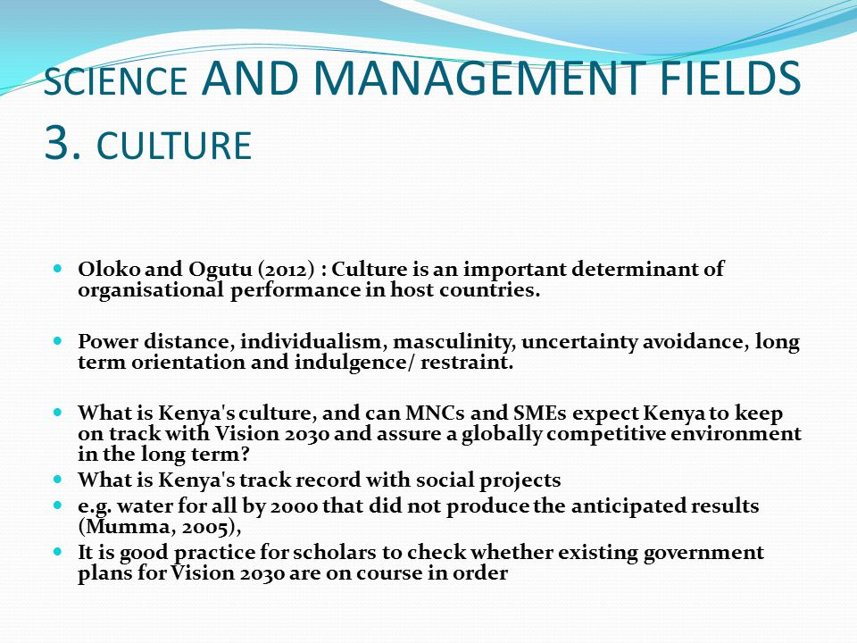 SCIENCE AND MANAGEMENT FIELDS 3. CULTURE