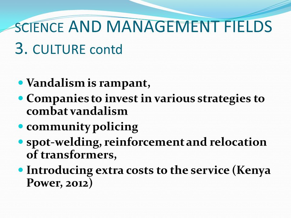 SCIENCE AND MANAGEMENT FIELDS 3. CULTURE contd