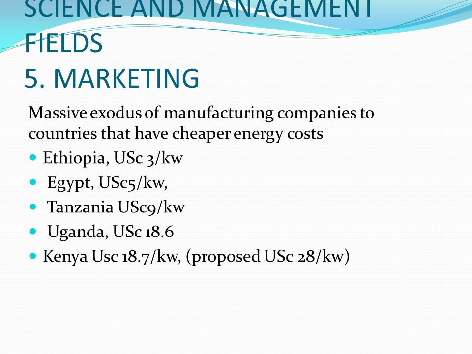SCIENCE AND MANAGEMENT FIELDS 5. MARKETING
