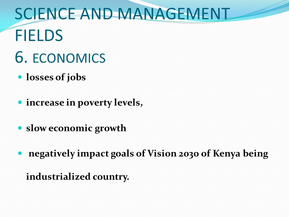SCIENCE AND MANAGEMENT FIELDS 6. ECONOMICS
