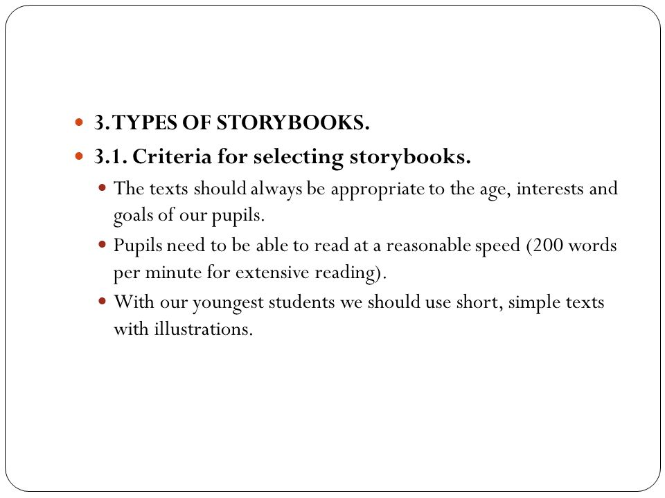 3.1. Criteria for selecting storybooks.
