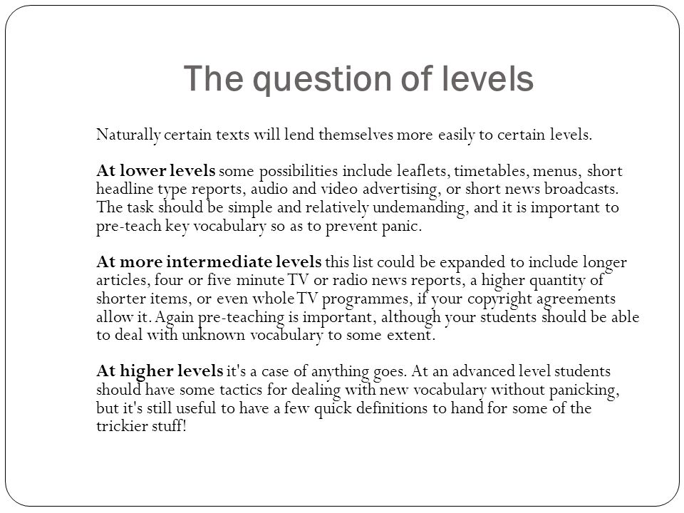 The question of levels