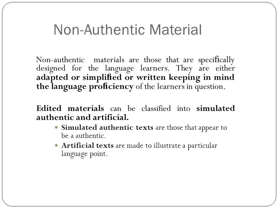 Non-Authentic Material
