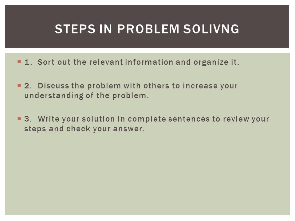 Steps in problem solivng