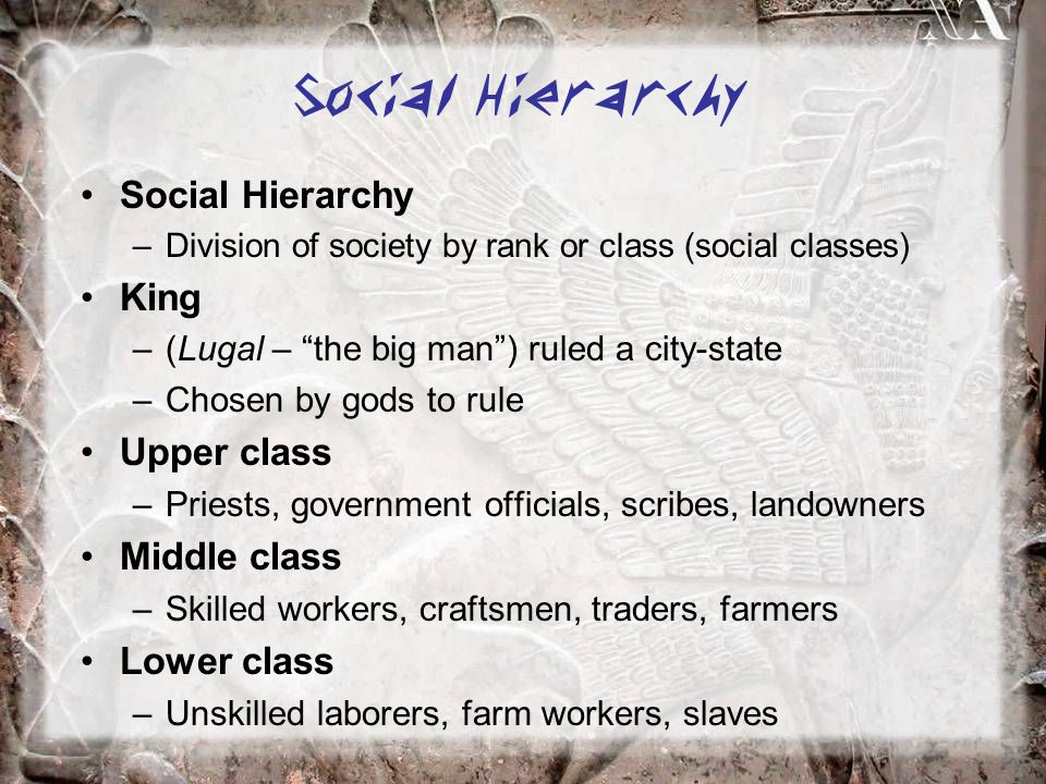 Social Hierarchy Social Hierarchy King Upper class Middle class