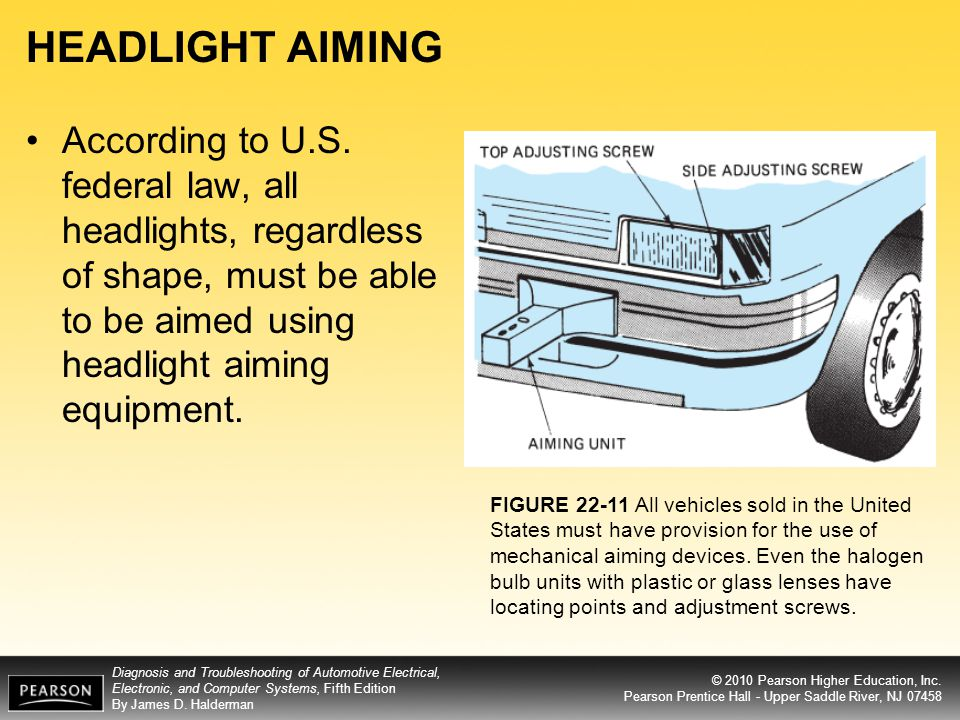 HEADLIGHT AIMING According to U.S. federal law, all headlights, regardless of shape, must be able to be aimed using headlight aiming equipment.