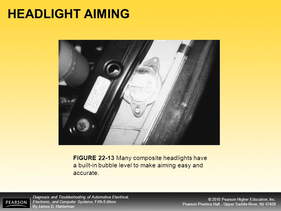 HEADLIGHT AIMING FIGURE 22-13 Many composite headlights have a built-in bubble level to make aiming easy and accurate.