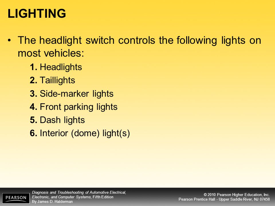 LIGHTING The headlight switch controls the following lights on most vehicles: 1. Headlights. 2. Taillights.