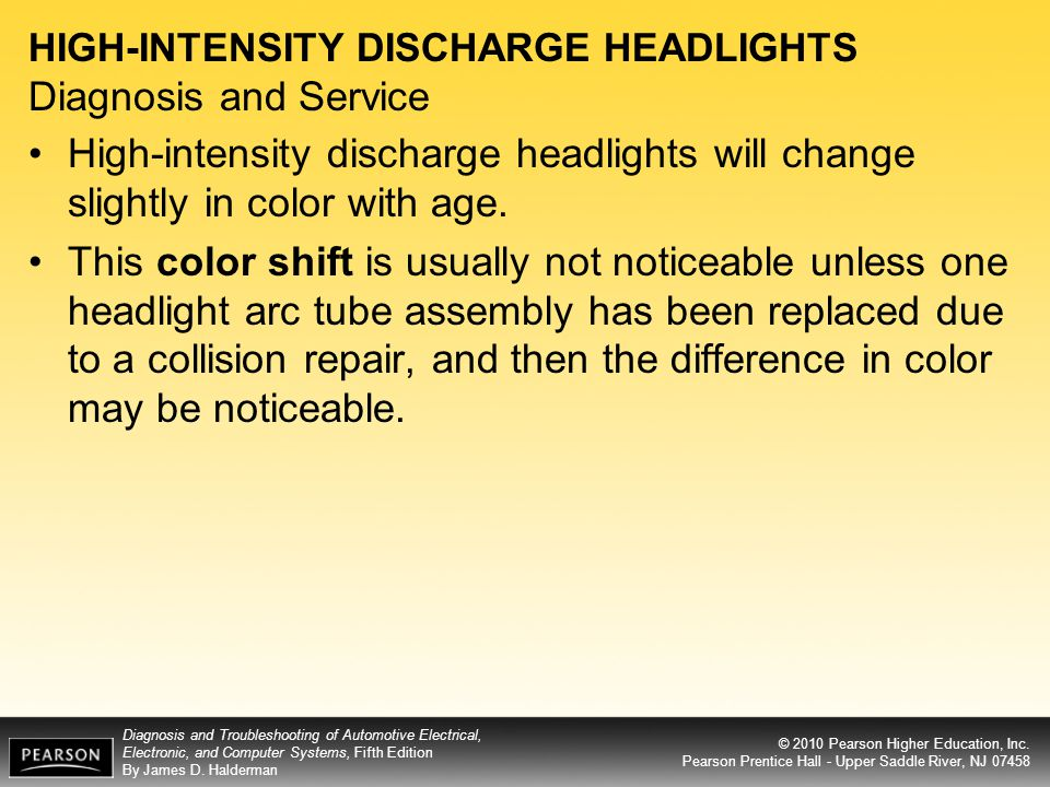 HIGH-INTENSITY DISCHARGE HEADLIGHTS Diagnosis and Service