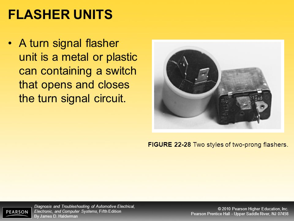 FLASHER UNITS A turn signal flasher unit is a metal or plastic can containing a switch that opens and closes the turn signal circuit.