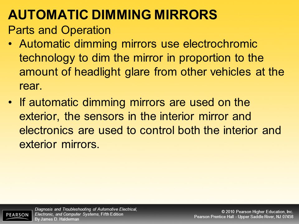 AUTOMATIC DIMMING MIRRORS Parts and Operation