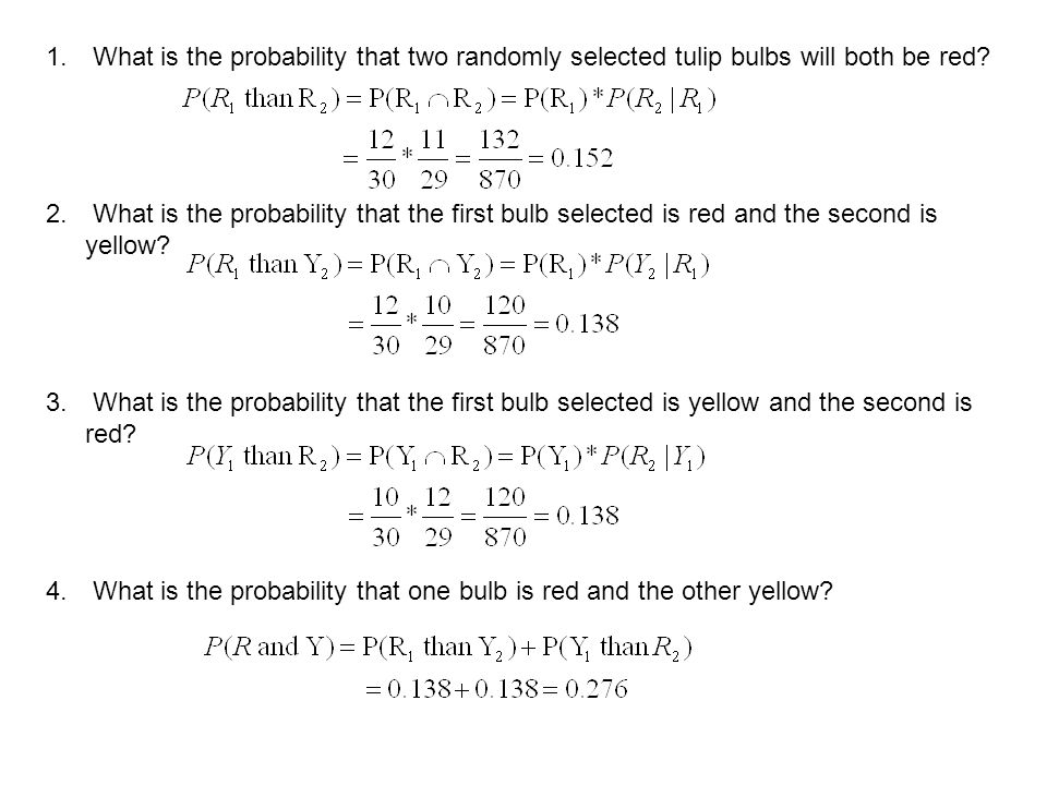 What is the probability that two randomly selected tulip bulbs will both be red
