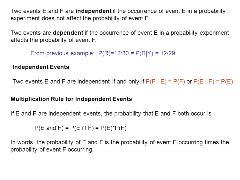 Two events E and F are independent if the occurrence of event E in a probability experiment does not affect the probability of event F.