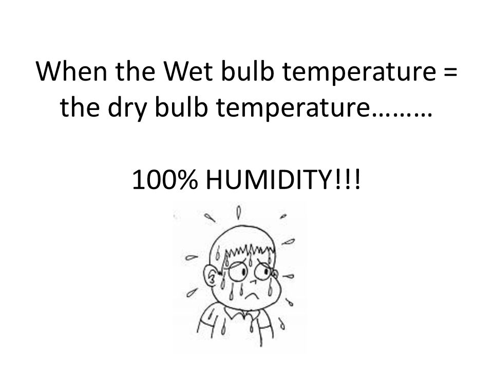 When the Wet bulb temperature = the dry bulb temperature……… 100% HUMIDITY!!!