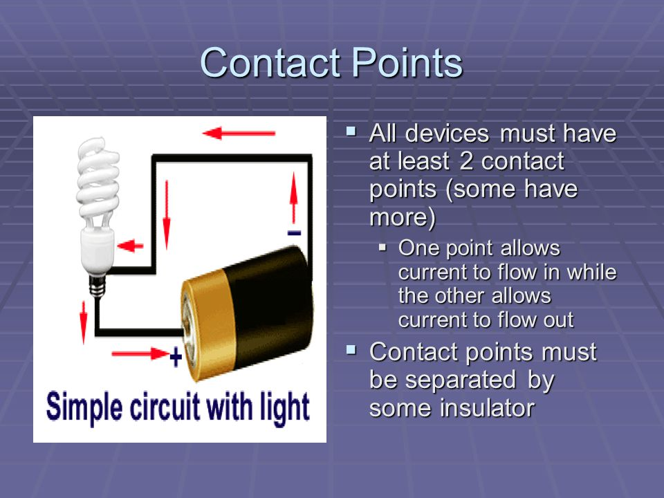 Contact Points All devices must have at least 2 contact points (some have more)