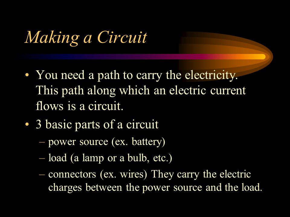 Making a Circuit You need a path to carry the electricity. This path along which an electric current flows is a circuit.