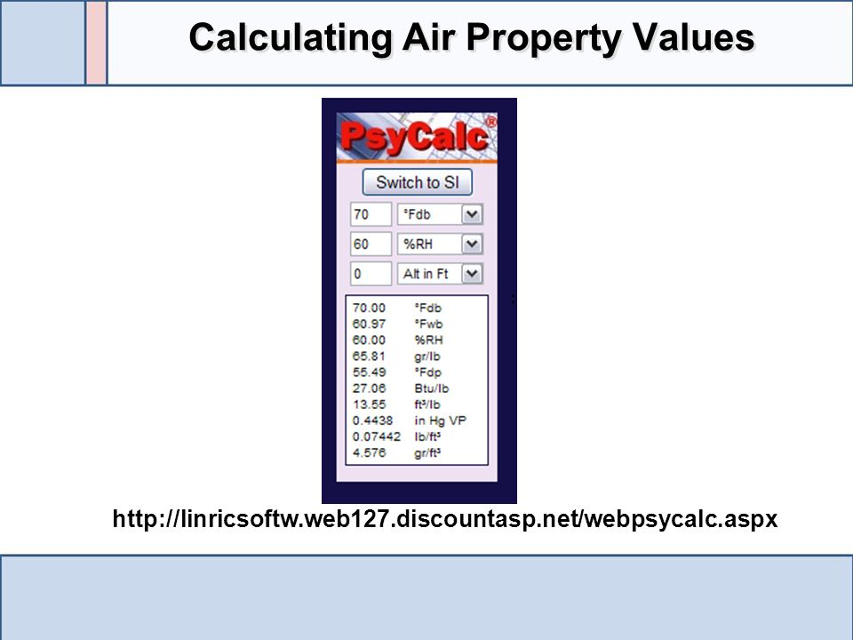 Calculating Air Property Values