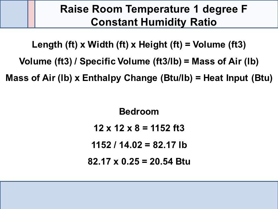 Raise Room Temperature 1 degree F Constant Humidity Ratio