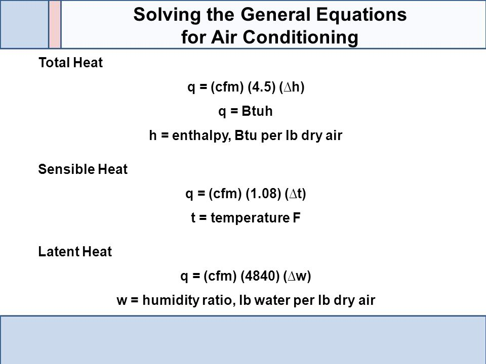 Solving the General Equations for Air Conditioning