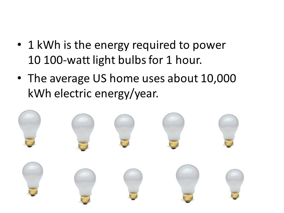 1 kWh is the energy required to power 10 100-watt light bulbs for 1 hour.