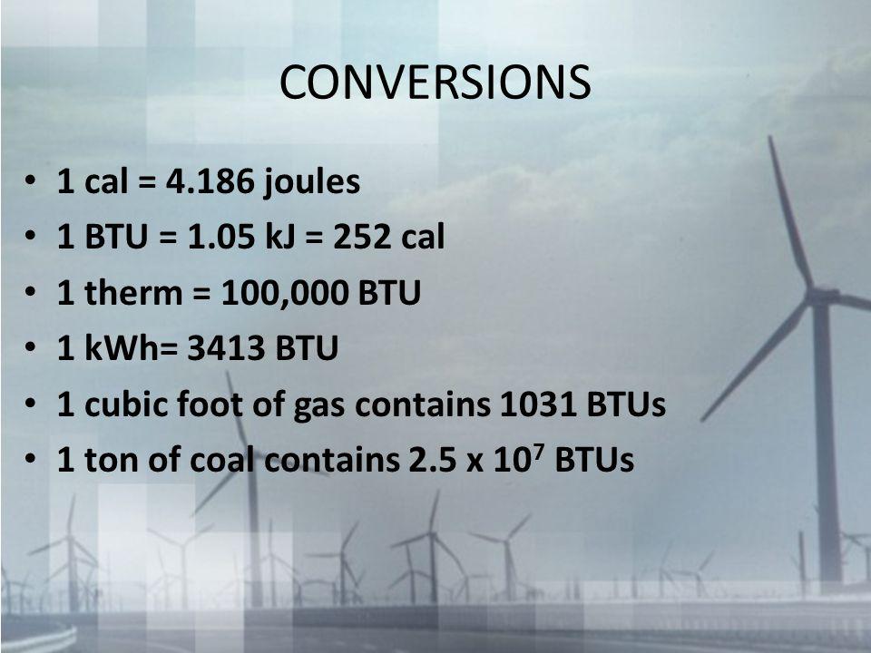 CONVERSIONS 1 cal = 4.186 joules 1 BTU = 1.05 kJ = 252 cal