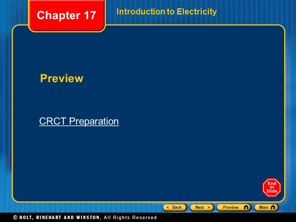 Chapter 17 Introduction to Electricity Preview CRCT Preparation