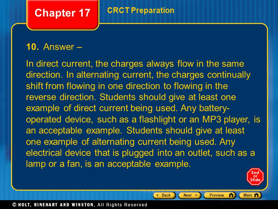 Chapter 17 CRCT Preparation. 10. Answer –
