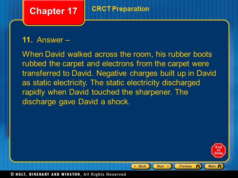 Chapter 17 CRCT Preparation. 11. Answer –