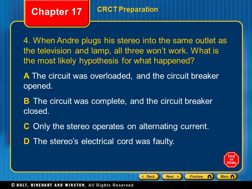 Chapter 17 CRCT Preparation.