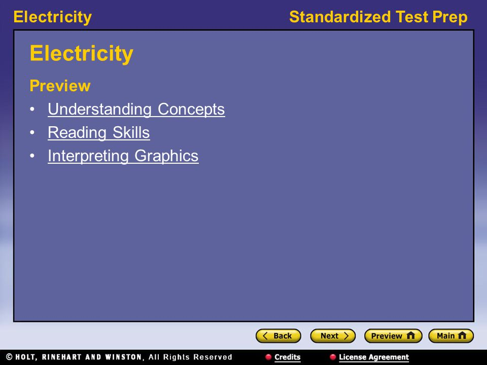 Electricity Preview Understanding Concepts Reading Skills
