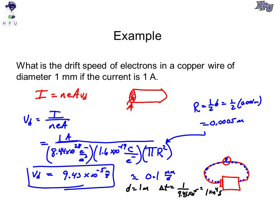 Example What is the drift speed of electrons in a copper wire of diameter 1 mm if the current is 1 A.
