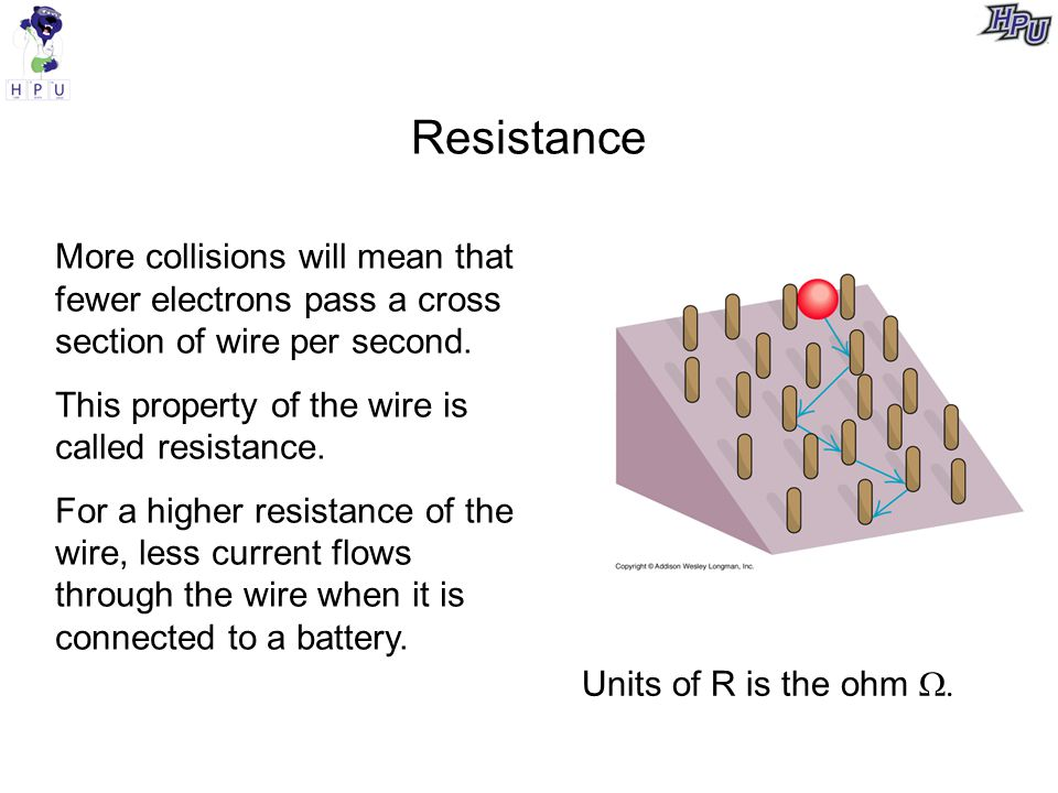 Resistance More collisions will mean that fewer electrons pass a cross section of wire per second. This property of the wire is called resistance.