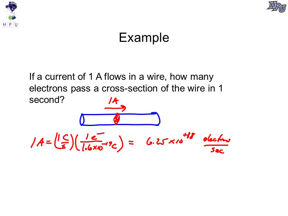 Example If a current of 1 A flows in a wire, how many electrons pass a cross-section of the wire in 1 second