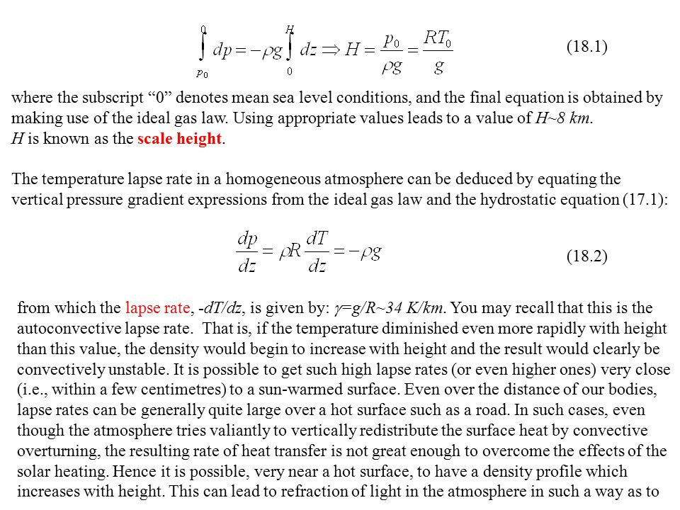 (18.1) where the subscript 0 denotes mean sea level conditions, and the final equation is obtained by.