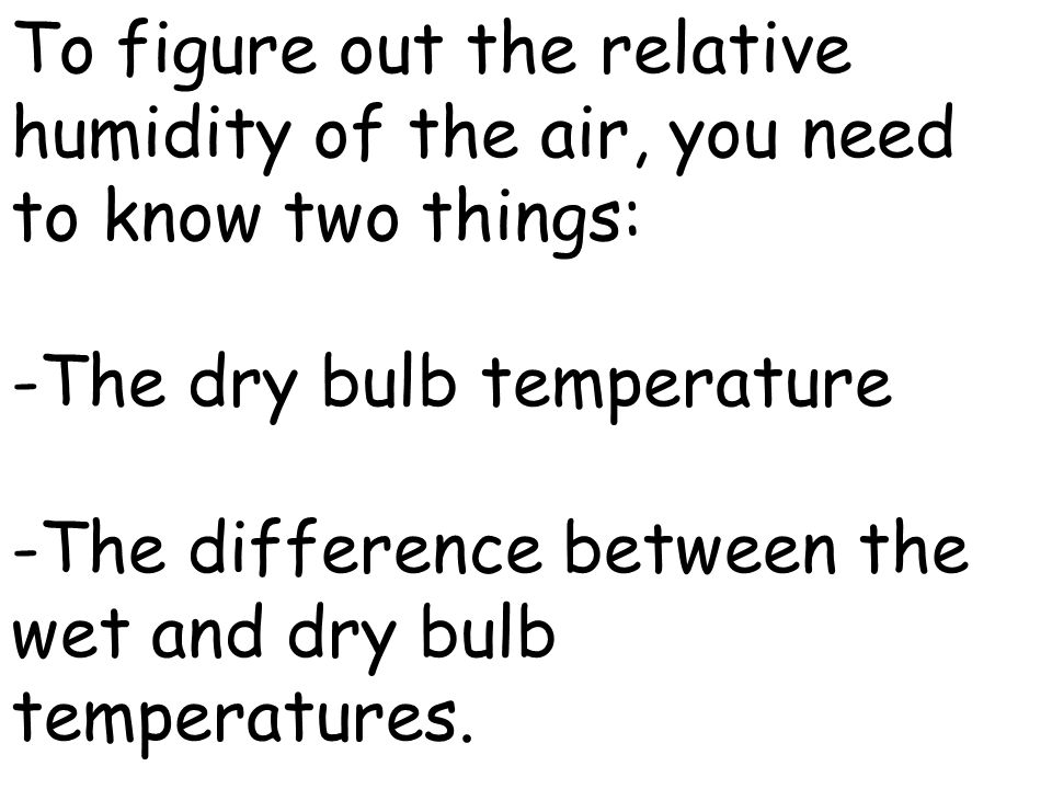 To figure out the relative humidity of the air, you need to know two things: