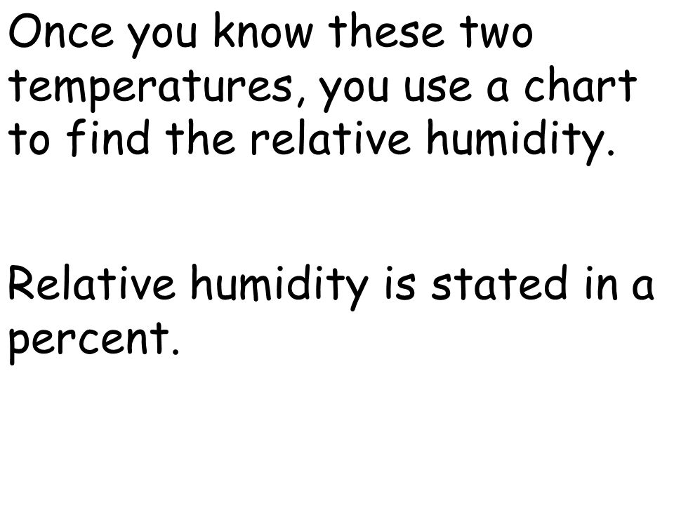 Once you know these two temperatures, you use a chart to find the relative humidity.