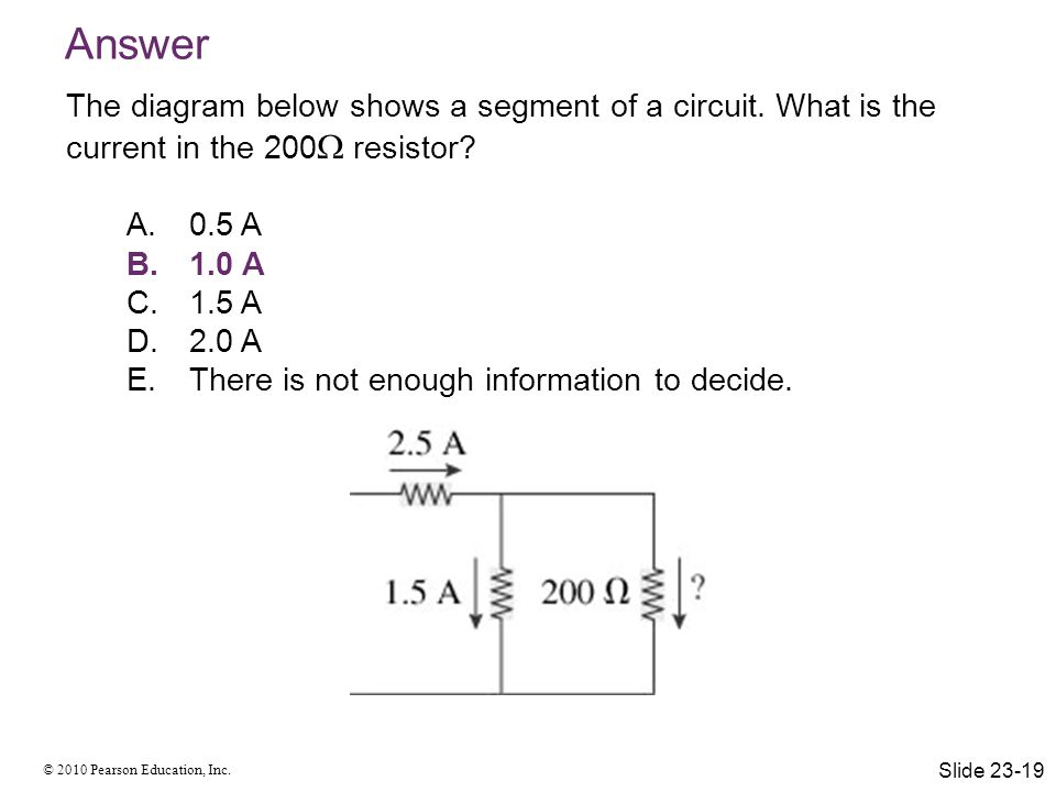 Answer The diagram below shows a segment of a circuit. What is the current in the 200 resistor 0.5 A.