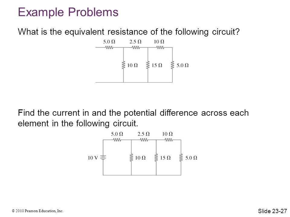 Example Problems What is the equivalent resistance of the following circuit