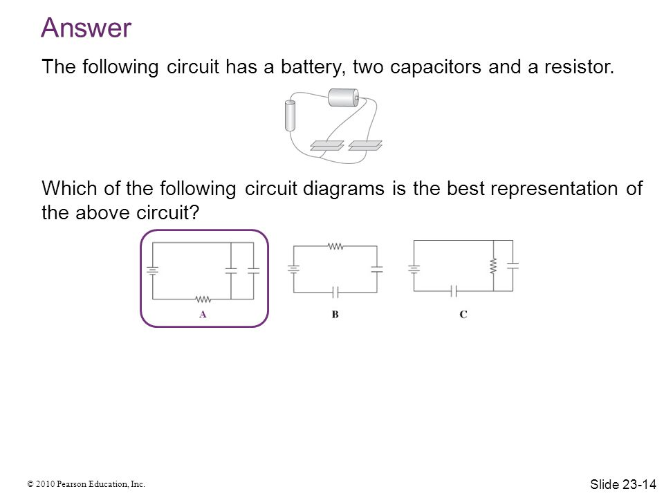 Answer The following circuit has a battery, two capacitors and a resistor.