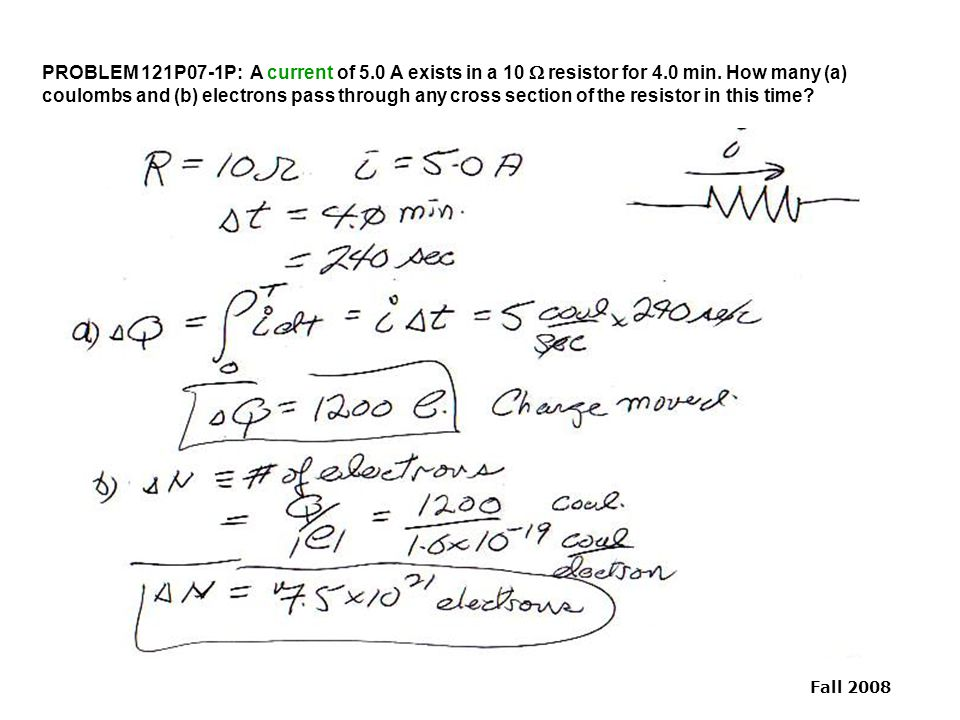 PROBLEM 121P07-1P: A current of 5. 0 A exists in a 10 W resistor for 4