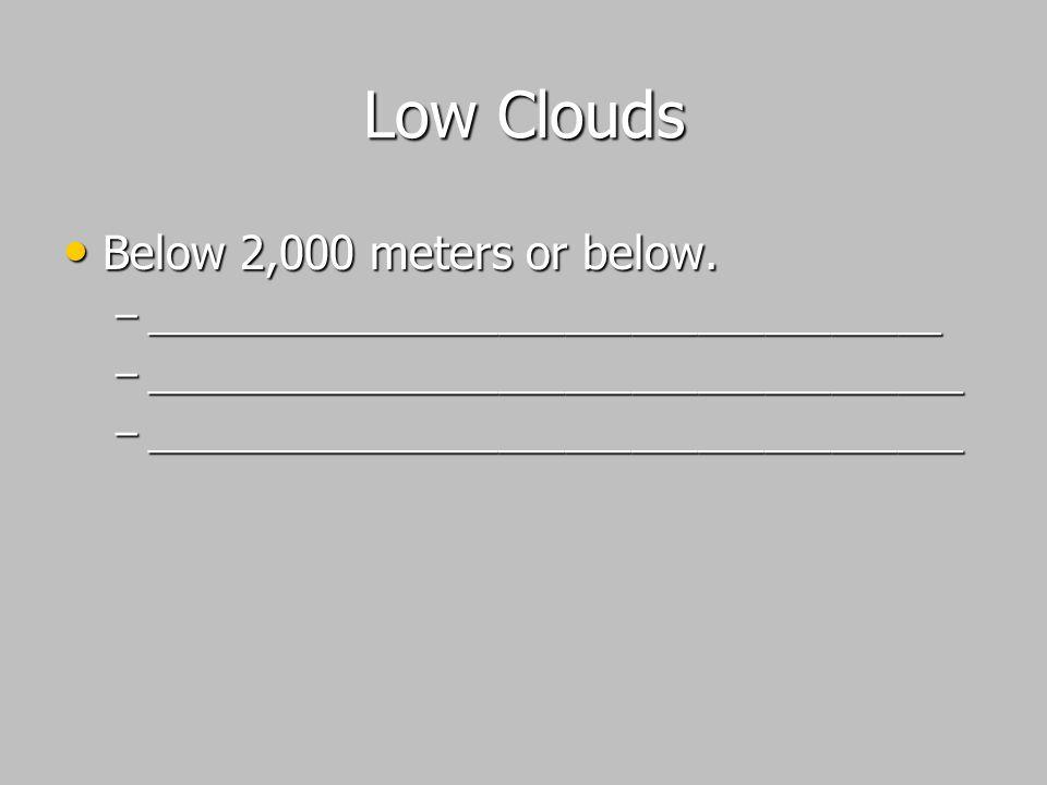 Low Clouds Below 2,000 meters or below.
