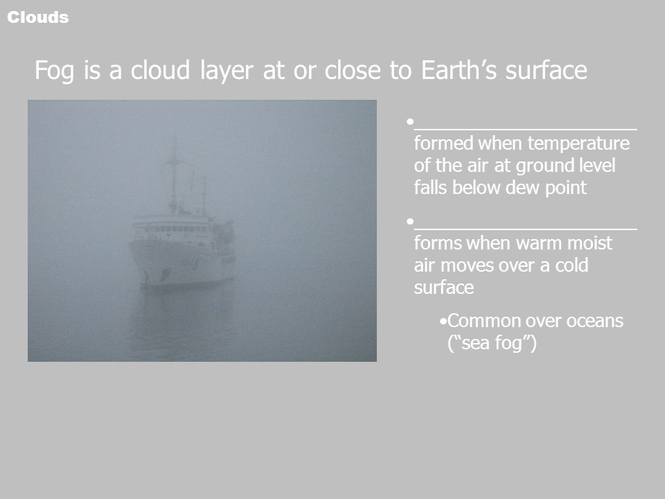 Fog is a cloud layer at or close to Earth's surface
