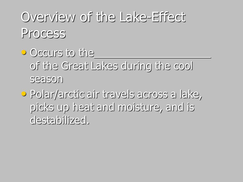 Overview of the Lake-Effect Process