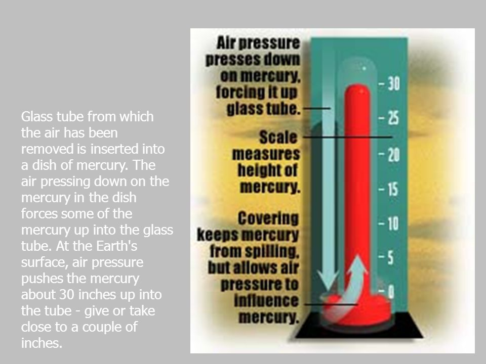 Glass tube from which the air has been removed is inserted into a dish of mercury.