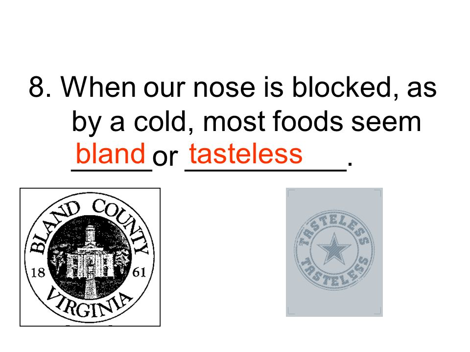 8. When our nose is blocked, as by a cold, most foods seem _____or __________.