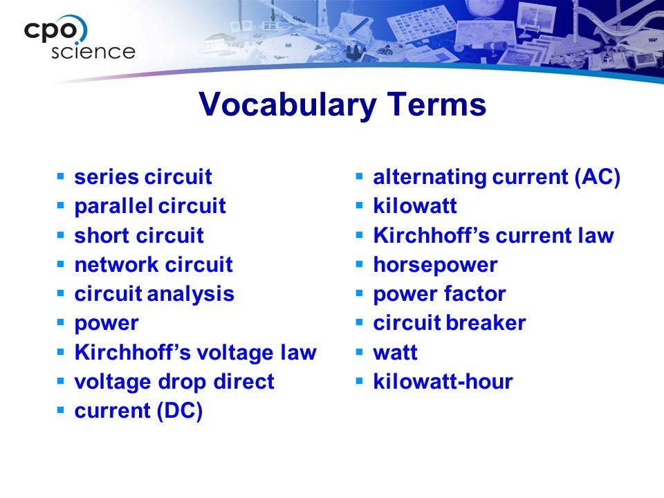 Vocabulary Terms series circuit parallel circuit short circuit