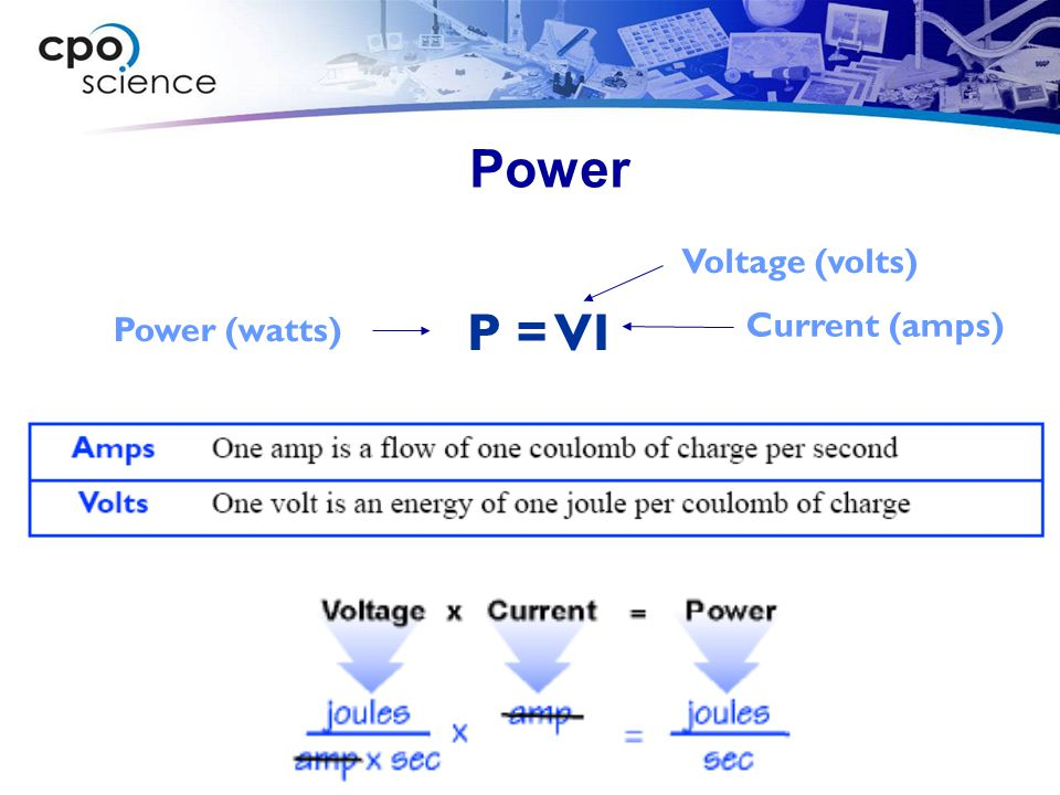 Power Voltage (volts) P = VI Power (watts) Current (amps)